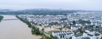 航拍江西婺源特大洪水 古镇被淹没